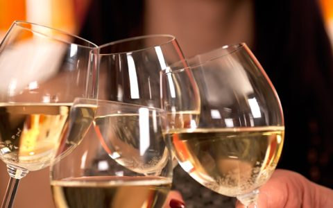 Celebration with white wine